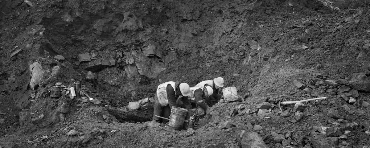 Matthias Bindig with crew, mining at Vanguard claim, Keno Hill